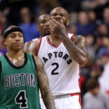 Feb 24, 2017; Toronto, Ontario, CAN; Toronto Raptors forward P.J. Tucker (2) reacts after missing both free throws in the final minute of play against the Boston Celtics at Air Canada Centre. The Raptors beat the Celtics 107-97. Mandatory Credit: Tom Szczerbowski-USA TODAY Sports
